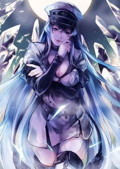 Esdeath from Akame Ga Kill Kawaii Anime Girl, Anime Art Girl, Character Art, Character Design, Susanoo, Akame Ga Kill, Chica Anime Manga, Animes Wallpapers, Beautiful Anime Girl