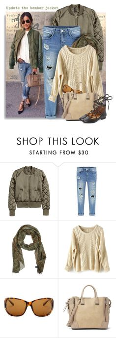 """*Update the bomber jacket with distressed jeans"" by breathing-style ❤ liked on Polyvore featuring Emanuel Ungaro, Smith Optics, Steve Madden and Kelsi Dagger Brooklyn"