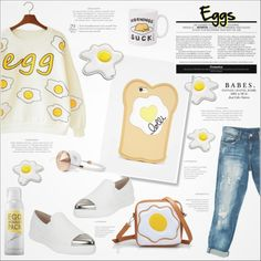 ♠ Breakfast! by paty on Polyvore featuring Sans Souci, Miu Miu, Anya Hindmarch, Lolli, too cool for school, Frends, food, egg and gudetama