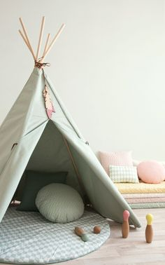 The Nevada Teepee in pale Provence Green from Nobodinoz is the perfect play tent for your little ones. These adventurous adorable tipis have feather details will create adventure Childrens Teepee, Teepee Kids, Teepee Tent, Teepees, Nevada, Scandinavian Nursery, Baby Rocker, Wooden Feather, Blog Deco
