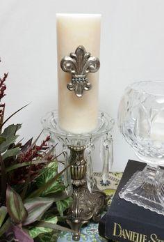 Platinum Fleur-de-lis Candle Pin by MWDesignsDecor on Etsy