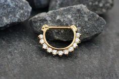 Crystal Septum Clicker, Gold Daith Piercing Jewelry – MyBodiArt