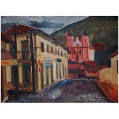 Emeric Marcier (Romênia, 1916 - Paris 1990) Vista de Ouro Preto. Óleo sobre tela. Assinatura no