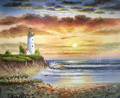 paintings Lighthouse | Yessy > A ART > ORIGINAL OIL PAINTINGS > LIGHTHOUSE SEASCAPE SUNSET
