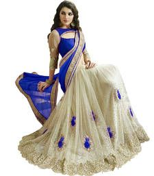 Buy Blue and White embroidered Georgette and Net  saree With Blouse wedding-saree online