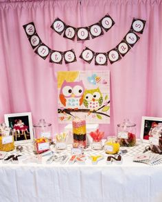 Owl themed candy bar dessert table.  LOVE the custom banner and Owl print together!