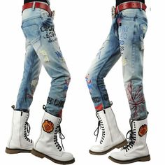 Buy Cool Faded Denim Blue Ripped Punk Rocker Emo Fashion Jeans Men SKU-11404135