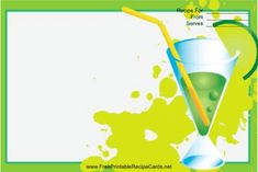 This Green Cocktail Recipe Card features a colorful green cocktail on a green background. Free to download and print