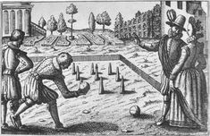 Woodcut of lawn bowling - 16th century - Scanned from English Life in Tudor Times by Roger Hart, NT: Putnam, 1972, SBN 853401608 Author Unknown