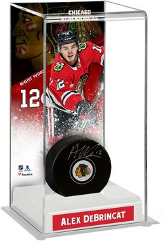 86ee0ca9c02 Alex DeBrincat Chicago Blackhawks Signed Puck with Deluxe Tall Hockey Puck  Case