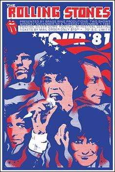 Rolling Stones 1981 Pontiac Silverdome tour poster