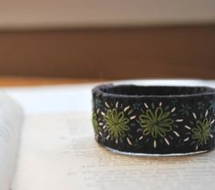 Hand Embroidered Wool Felt Cuff Bracelet Black Forest by lovemaude, $24.00