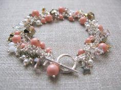 Swarovski crystal & coral pearl tiny flower and by trinkjewelry