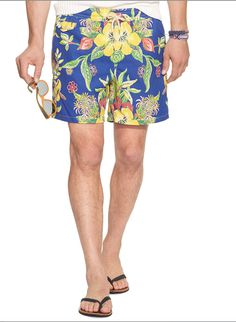 Floral Swim Trunks from Polo Ralph Lauren: Crafted from quick-drying nylon, this vibrant swim trunk is designed with a colorful hibiscus pattern.