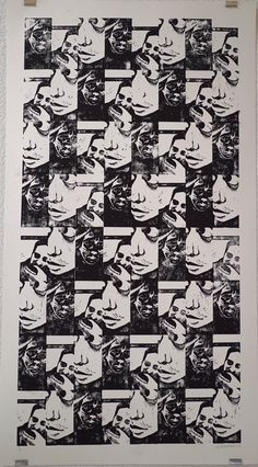 """""""Selfie story 01"""" de Gaby Matryoshka Linogravure sur papier  D'après le court métrage Snap"""