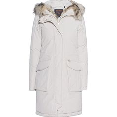 WOOLRICH W's Military Parka Frozen White // Down parka with fur trim (76.840 RUB) ❤ liked on Polyvore featuring outerwear, coats, fur hooded coat, woolrich coats, fur trimmed parka, fur trim coats and white hooded coat