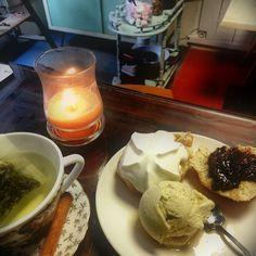 #scone#Chantilly# #glace vanille#pâte à tartiner artisanale#sirop vanille#thé vert#