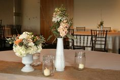 milk vases & burlap Love the white with antique pink and sage.