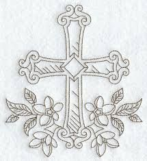 """Embroidery Designs Ideas Cross with Flowers (Redwork) ~ So I realize this is a different type all together of """"Needle""""work.but would be a gorgeous tatttoo! Folk Embroidery, Ribbon Embroidery, Machine Embroidery Designs, Embroidery Stitches, Embroidery Patterns, Embroidery Boutique, Cross Drawing, Altar Cloth, Cross Patterns"""