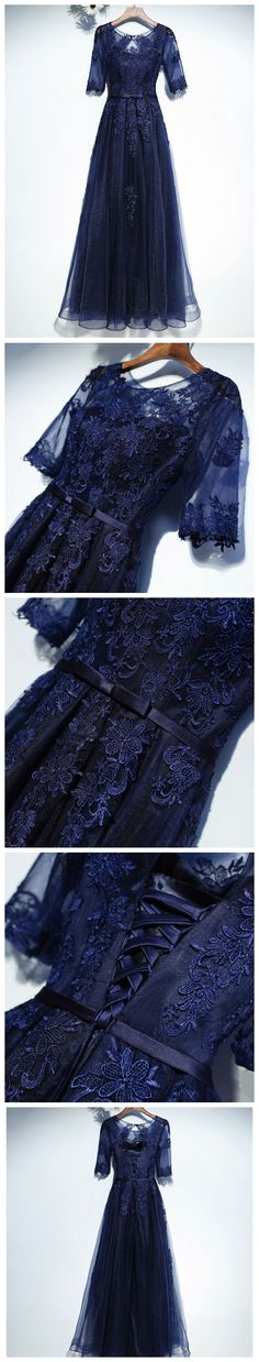 CHIC A-LINE SCOOP HALF SLEEVE DARK NAVY LACE TULLE MODEST PROM DRESS EVENING GOWNS AM275
