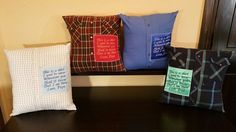Keepsake pillows Love Dad, Dads, Quilts, Pillows, How To Wear, Quilt Sets, Fathers, Log Cabin Quilts, Cushions