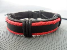 Real Leather Cotton Rope Woven Bracelets Adjustable by sevenvsxiao, $3.00