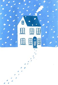 First snowfall // gouache painting illustration