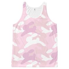 Pink Bunny Camo Tank All-Over Print Tank Top Tank Tops
