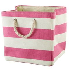 Stripes Around the Cube Bin (Pink)  | The Land of Nod