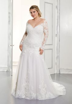 Mori Lee Plus Size Wedding Gowns, Wedding Dresses Photos, Bridal Wedding Dresses, White Wedding Dresses, Wedding Dress Styles, Designer Wedding Dresses, Plus Size Bridal Dresses, Lace Wedding, Wedding Dress Sleeves