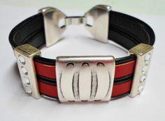 Large Motif Striped Slider for Multi Strand Bracelet 20x2.5mm hole Flat Leather Finding