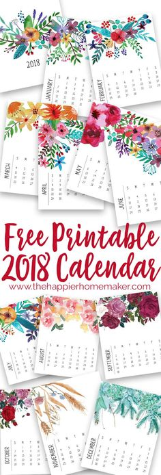 Printable 2017 Calendar Free printable modern floral monthly 2018 calendar- print at home by the month or for the entire year.Free printable modern floral monthly 2018 calendar- print at home by the month or for the entire year. Floral Printables, Printable Designs, Free Printables, 2018 Calendar Printable Free, Printable Planner, Monthly Calendar 2018, Print Calendar, Calendar Design, Calendar Ideas