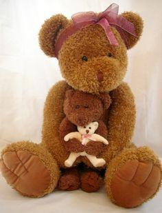 "Teddy Bear Mama Large Plush Baby Doll 3 Bears Girl Brown Sitting 21"" x 20"" Brown"