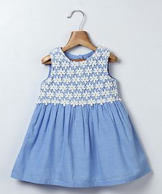 Love this Blue Lace Chambray Babydoll Dress - Infant & Toddler on #zulily! #zulilyfinds