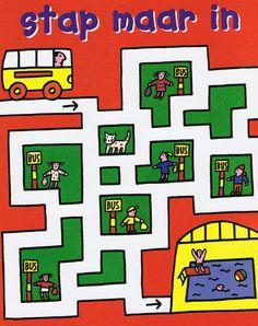 zoek een weg zodat de bus iedereen meeneemt naar het zwembad