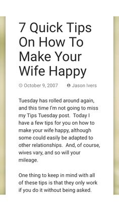 How to make wife happy tips