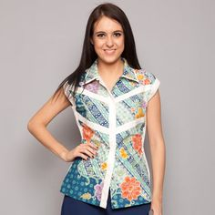 Blue Green Batik Sleeveless Shirt