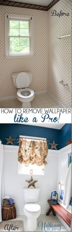 Ever wondered how to remove wallpaper like a professional? Today I'm sharing all the tips for the quickest and easiest ways to strip wallpaper. Stripped Wallpaper, Paper Wallpaper, Bathroom Wallpaper, Remove Wallpaper, Primitive Bathrooms, Old Bathrooms, Thing 1, White Trim, Cute Wallpapers