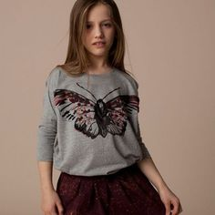 Daisy Magpie round t-shirt with butterfly print/embroidery by Soft Gallery * www.the-pippa-and-ike-show.com