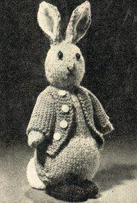 Peter Rabbit - toy - vintage knitting pattern
