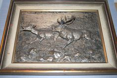 Hirsch RELIEF Sign. OSKAR PFLUG 1908 - Bronze / Zinn ? TOP Bild