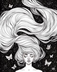 """Hairstyle Drawing Inktober day """"Flowing""""I gave myself a head start with this one cause I knew I wanted to draw lots of hair and that it would take a while. Pretty happy with how it came out. Cool Art Drawings, Art Drawings Sketches, Illustration Art Dessin, Ink Illustrations, Image Zelda, Arte Sketchbook, How To Draw Hair, Character Drawing, Cute Art"""