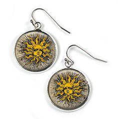 SUN FACE - Glass Picture Earrings - Silver Plated (Art Print Photo W18) by RosettaLondon on Etsy