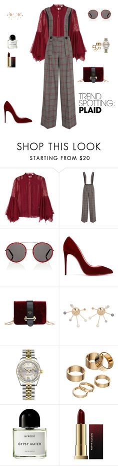 """Trend spotting: Plaids!"" by sebolita ❤ liked on Polyvore featuring Alice + Olivia, Gucci, Christian Louboutin, MANGO, Rolex, Apt. 9, Byredo and Kevyn Aucoin"