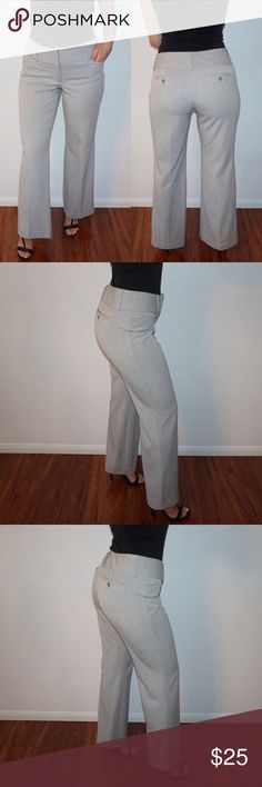 """Express Editor Pants In perfect condition, never worn since they are too big on me. The waist measures 17.5 inches laying flat. They do run much bigger than the size """"2"""" that's listed on the tag. I would say it fits best for someone between a size 6-8. They have a hook and zipper closure at the front, has two side pockets, two back pockets, belt loops & is a wide leg style! Perfect for business/work. Color: light grey Express Pants Wide Leg"""