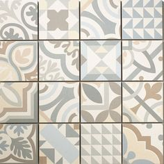 Gray cement mosaic tile 30 x 30 cm Tile Art, Mosaic Tiles, Cement Tiles, Morrocan Tiles Kitchen, Subway Tile Patterns, Portuguese Tiles, Basement Renovations, Textures Patterns, House Colors