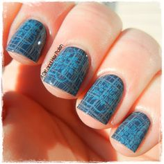 A Girl and Her Polish: Two stamps over a blue base.