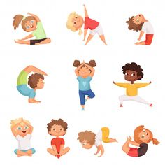 Yoga Cartoon, Cartoon Kids, Cute Cartoon, Cartoon Icons, Sports Activities For Kids, Kids Sports, Yoga Illustration, Character Illustration, Kid Character