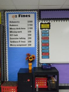 Interesting twist on classroom economy: Kids have to pay fines for inappropriate behavior./Be sure and let them know that adults pay fines when they break the rules too-give examples so they see that this isn't just make believe-G. Classroom Economy, Classroom Rewards, Classroom Behavior Management, 5th Grade Classroom, Classroom Setting, Classroom Setup, Classroom Design, Future Classroom, School Classroom