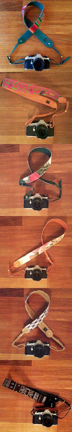 Alças para câmeras fotográficas em couro com tecido Kör Atelier